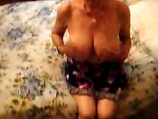 Friend's Skanky Busty Grandma Gets Naked Before Stroking My Dick