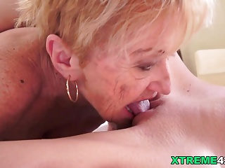 Kinky Granny Licking Monique Woods's Teen Pussy