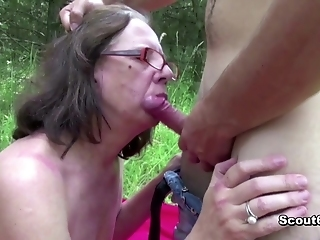 73 Years Old Granny Gets Pleasantly Fucked Outdoors