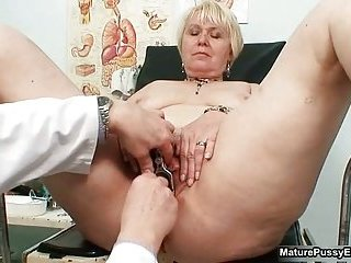 Blonde Grandma Gets Her Pussy Examed By A Horny Old Doctor