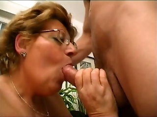 Lusty Granny In Glasses Gets Her Hairy Cunt Hammered By A Hot Guy