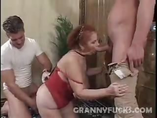 Hot Grandma Threesome