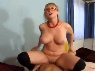 Sexy Granny Teaches Youthful Fella How To Fuck