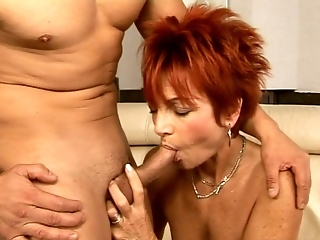 Redhead Old Granny Strips And Gets Her Cunt Fingered