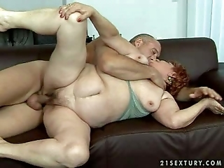 Redhead Granny Rides On Stiff Pecker Like Young Girl