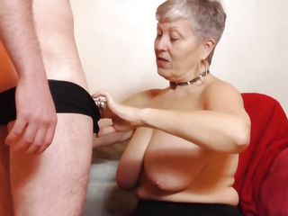 Busty Granny Treats Horny Jock To A Blowjob