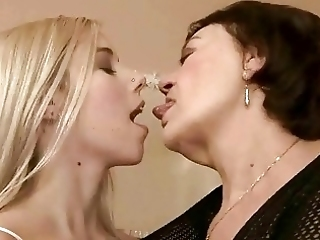 Blonde Teen Cutie And Chubby Granny Have Steamy Lesbian Sex