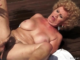 Hairy Granny Effie Gets A Fuck In The Sun