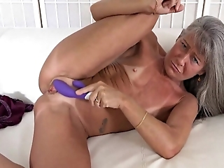Salacious Grandmother Masturbates Her Old Cunt Hole